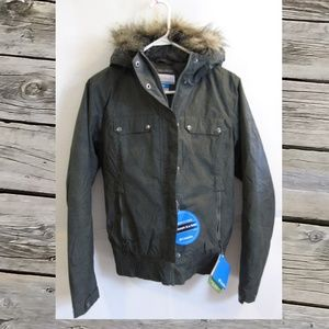 Columbia Jacket Faux Fur Hood Green S M or L